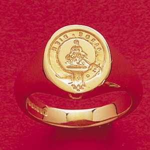 An eighteen carat gold signet ring engraved with the Clan badge of the Clan Montgomery.